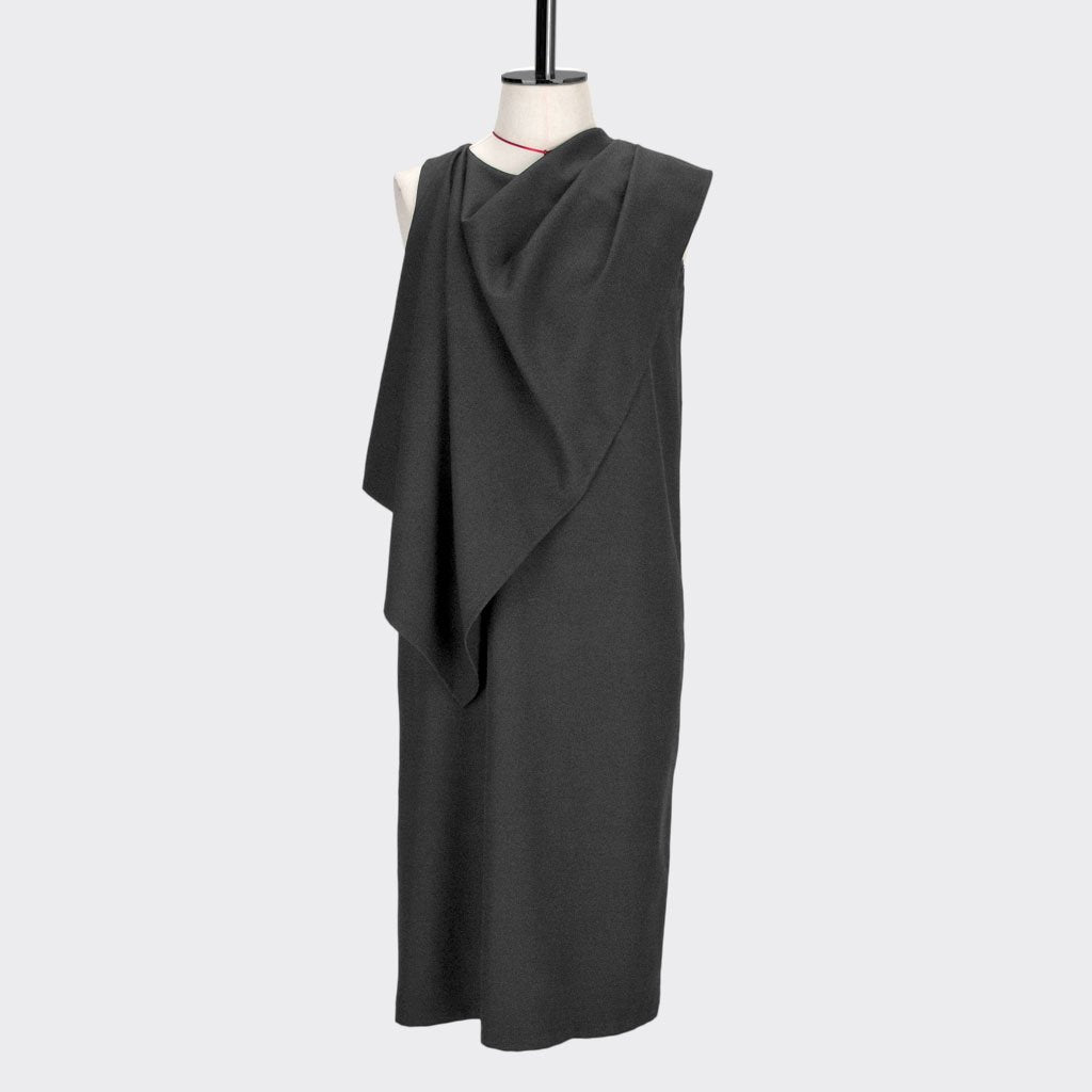 Womb Drape Shawl Dress Polyester Black S