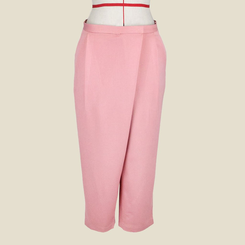 Womb Tapered Pleat Pants Polyester Rayon Pink S