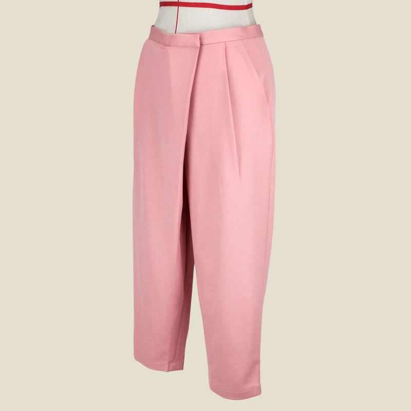 Womb Tapered Pleat Pants Polyester Rayon Pink M