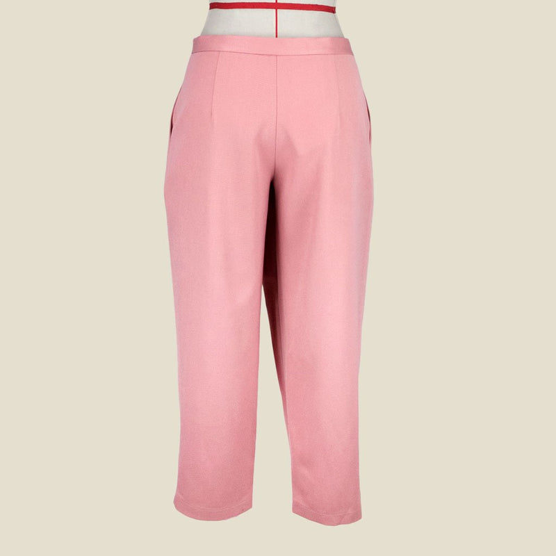 Womb Tapered Pleat Pants Polyester Rayon Pink L