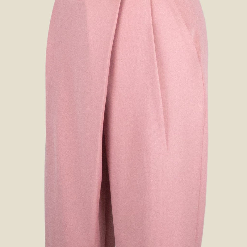 Womb Tapered Pleat Pants Polyester Rayon Pink XL