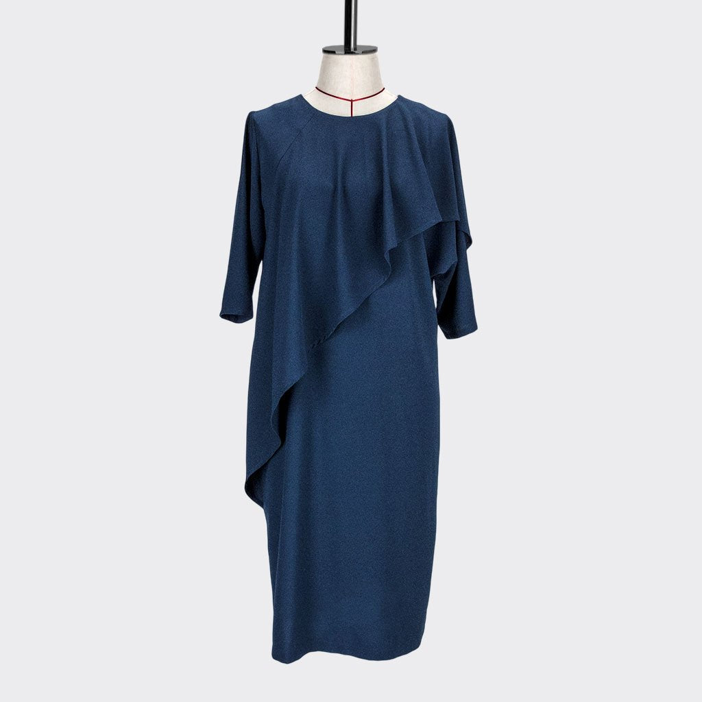 Womb Asymmetric Frill Sleeve Dress Polyester Blue S
