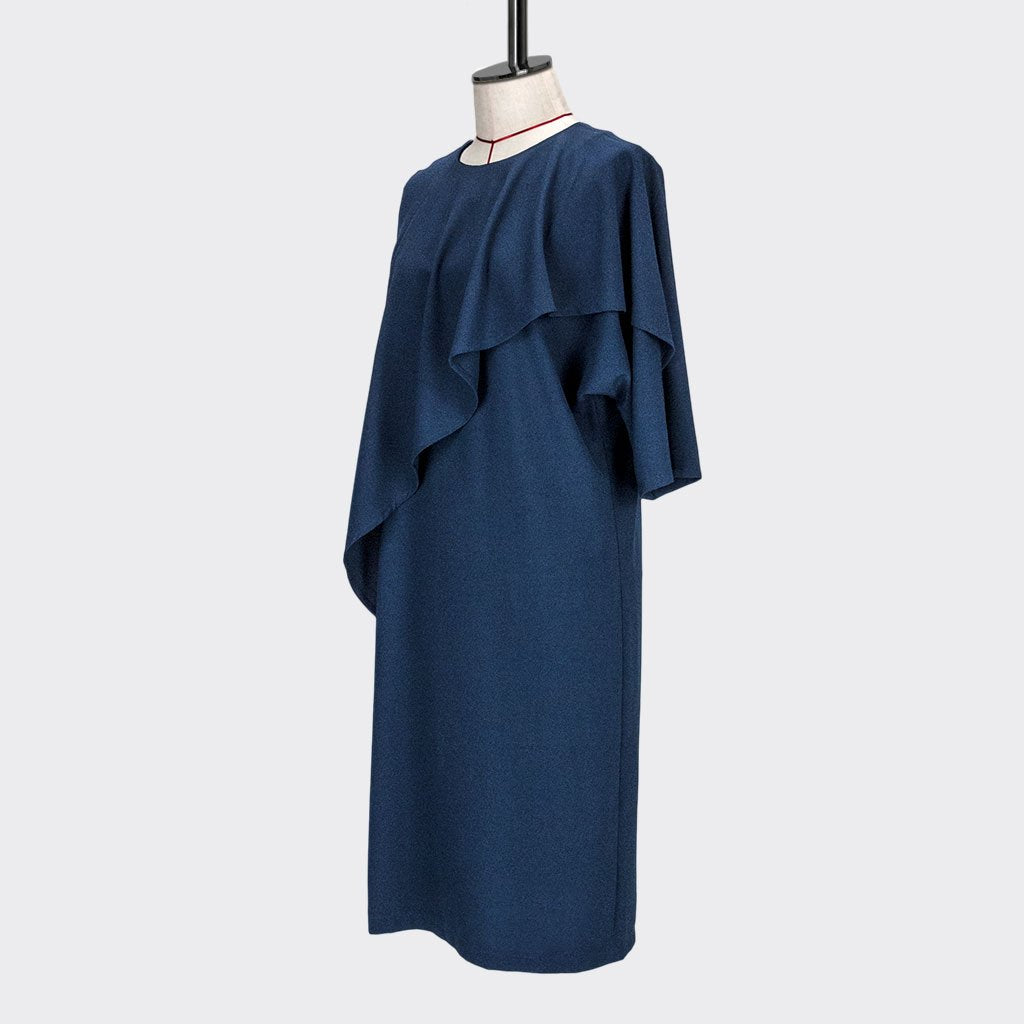 Womb Asymmetric Frill Sleeve Dress Polyester Blue M
