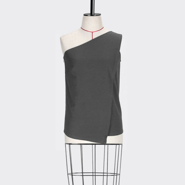 Womb Angular Toga Top Cotton Polyester Grey S