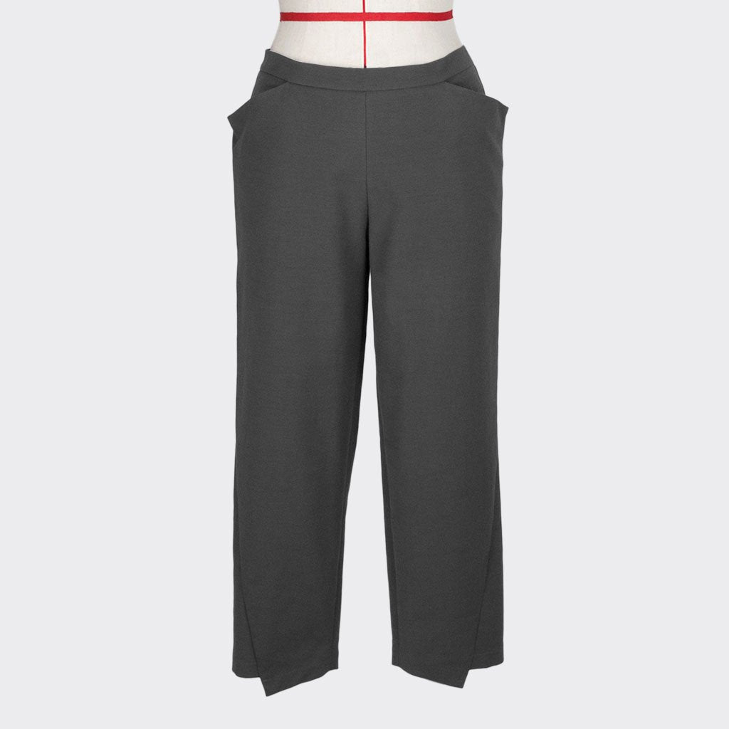 Womb Diagnonal Cut Tapered Pants Cotton Polyester Grey S