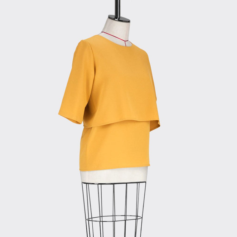 Womb Crop Layered Blouse Polyester Yellow XL