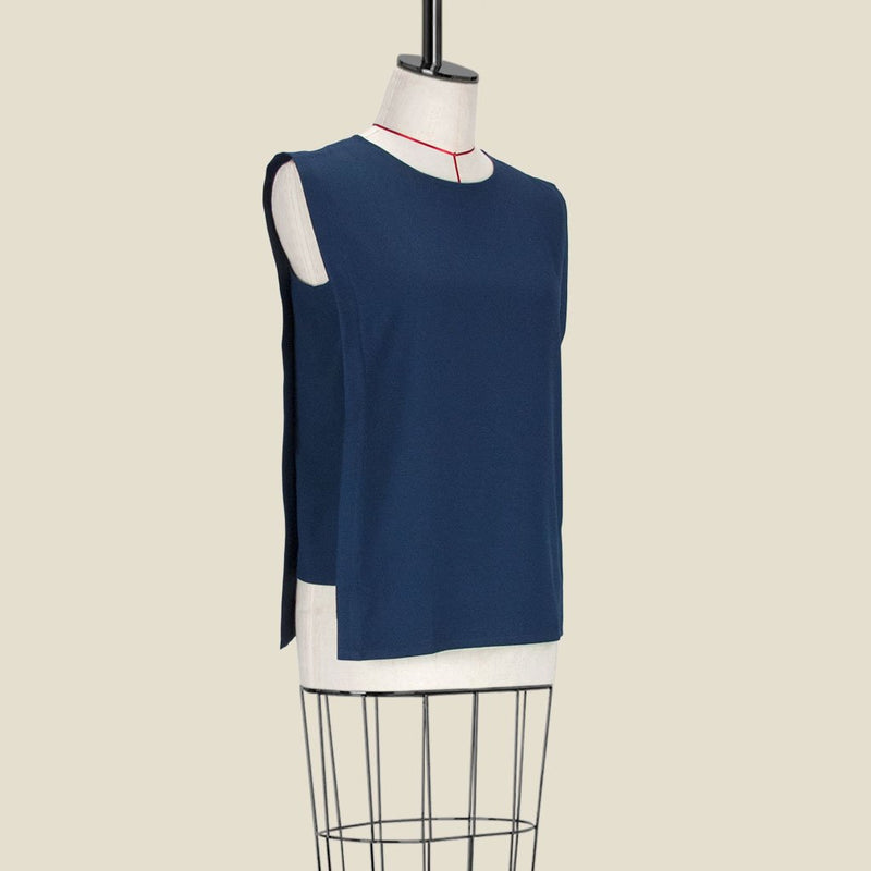 Womb Panel Blouse Polyester Blue M