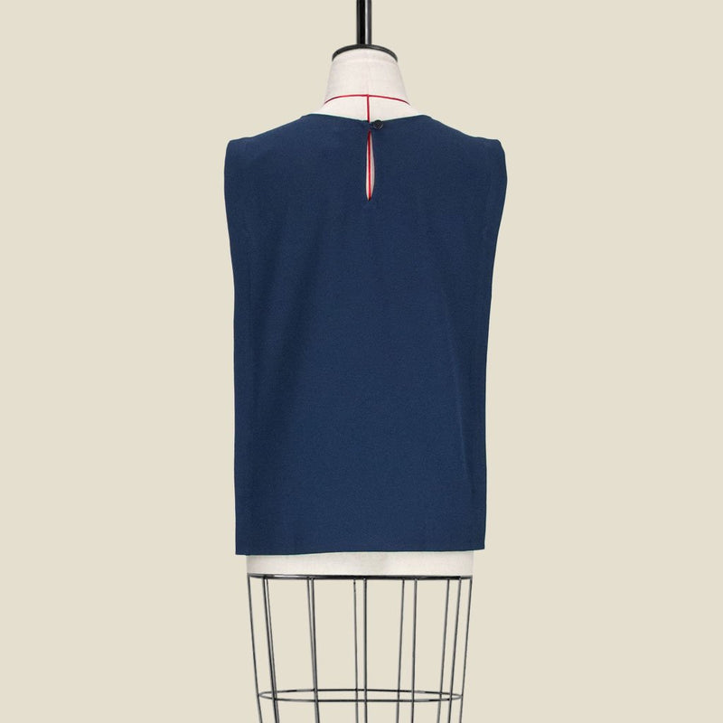 Womb Panel Blouse Polyester Blue L