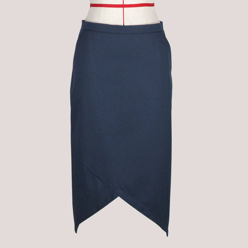 Womb Asymmetric Pencil Skirt Cotton Blue S