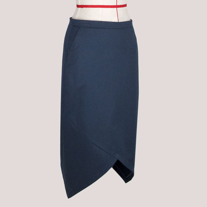 Womb Asymmetric Pencil Skirt Cotton Blue M