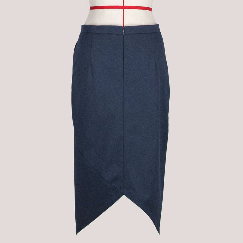 Womb Asymmetric Pencil Skirt Cotton Blue L