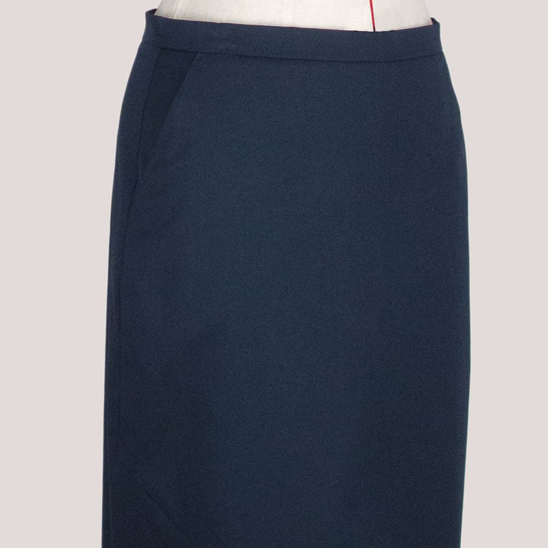 Womb Asymmetric Pencil Skirt Cotton Blue XL