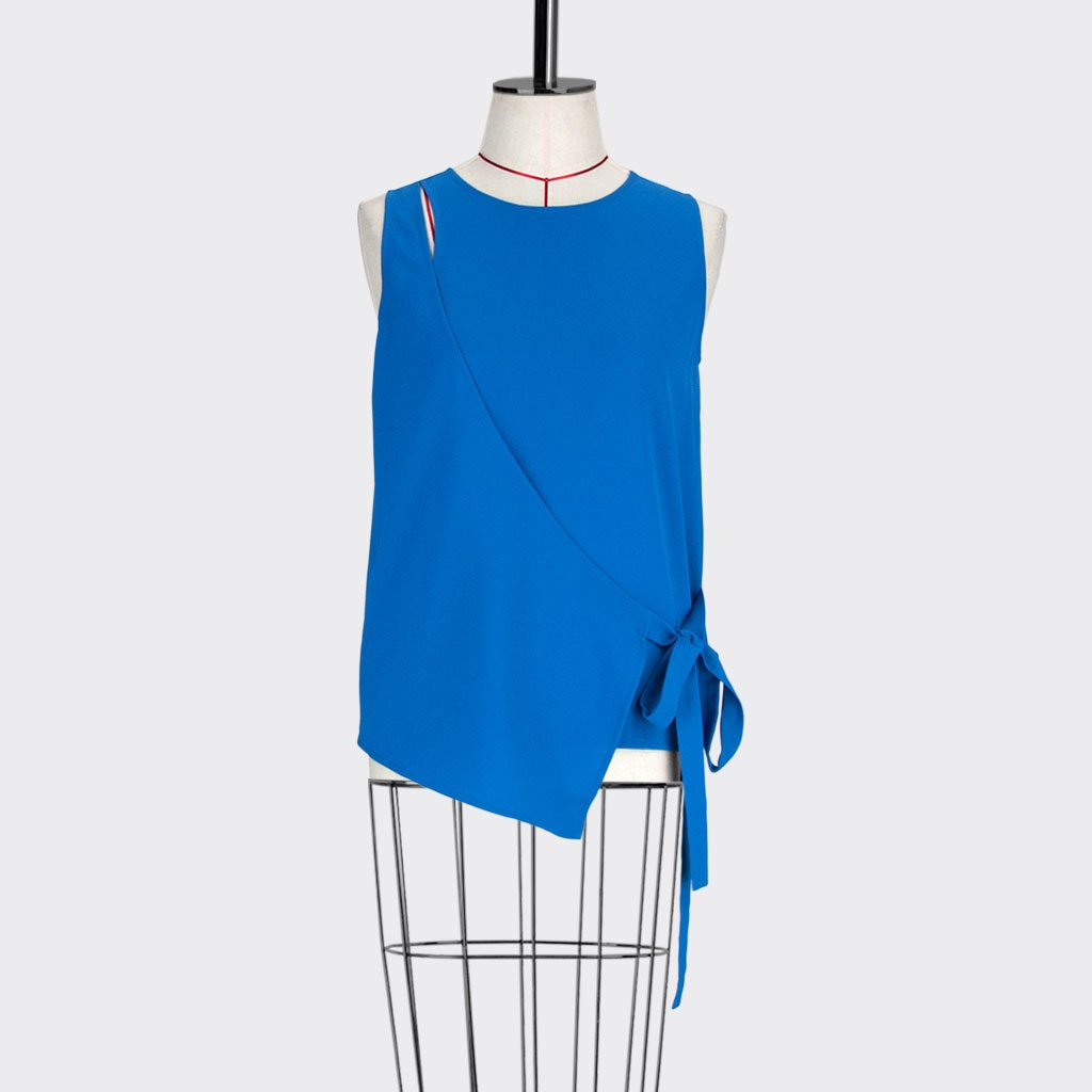 Womb Angular Wrap Blouse Polyester Blue S