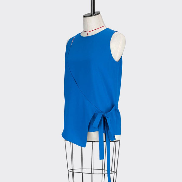 Womb Angular Wrap Blouse Polyester Blue M