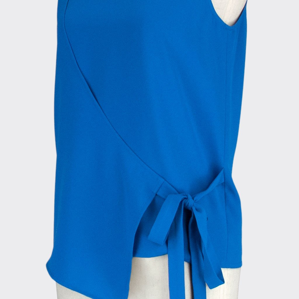 Womb Angular Wrap Blouse Polyester Blue XL