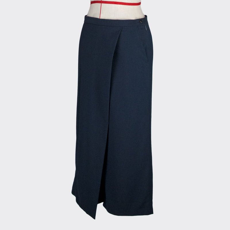 Womb Angular Panel Pants Polyester Rayon Blue M