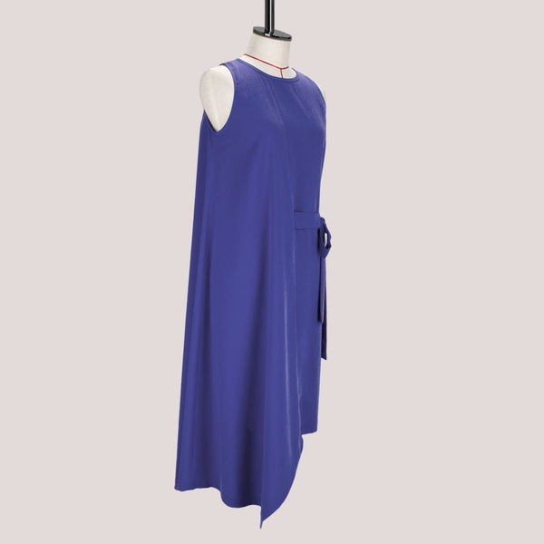Womb Asymmetric Drape Dress Cupro Purple M