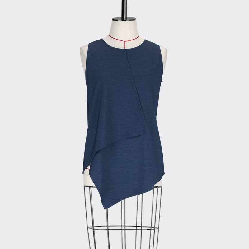 Womb Asymmetric Angular Blouse Polyester Rayon Blue S