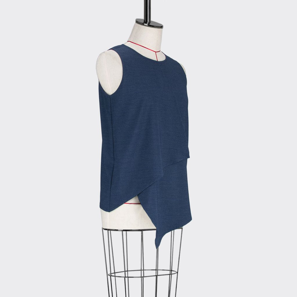 Womb Asymmetric Angular Blouse Polyester Rayon Blue M