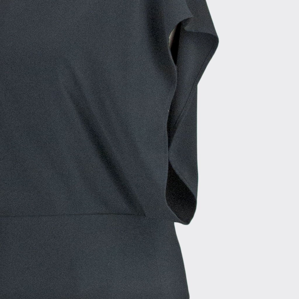 Womb Rectangle Sleeve Blouse Polyester Rayon Black XL