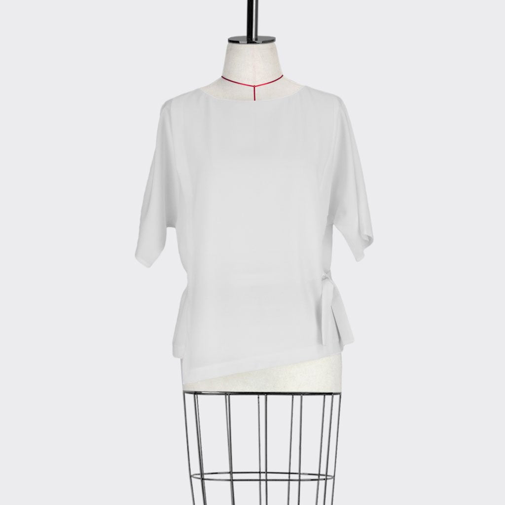 Womb Belted Panel Blouse Polyester White S