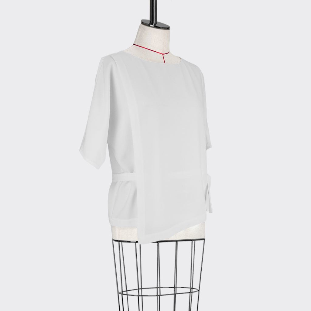 Womb Belted Panel Blouse Polyester White M