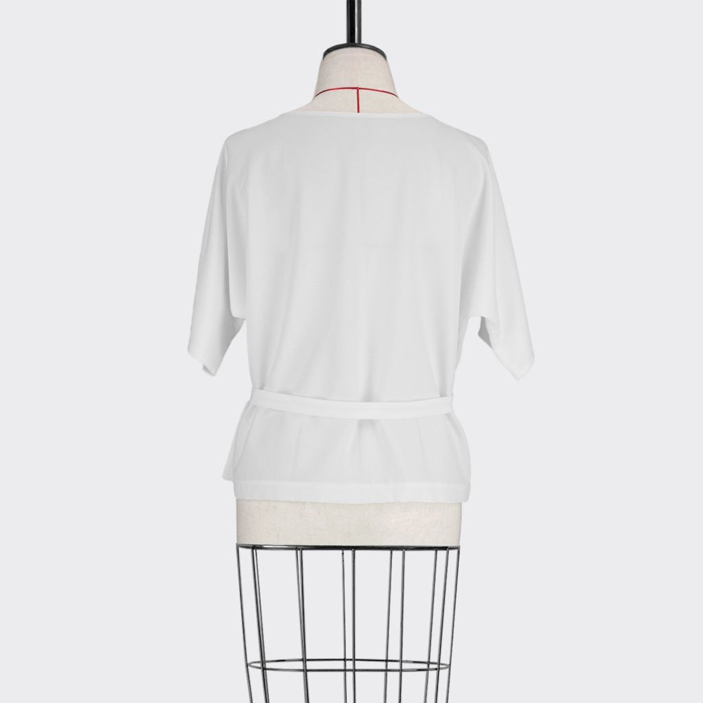 Womb Belted Panel Blouse Polyester White L