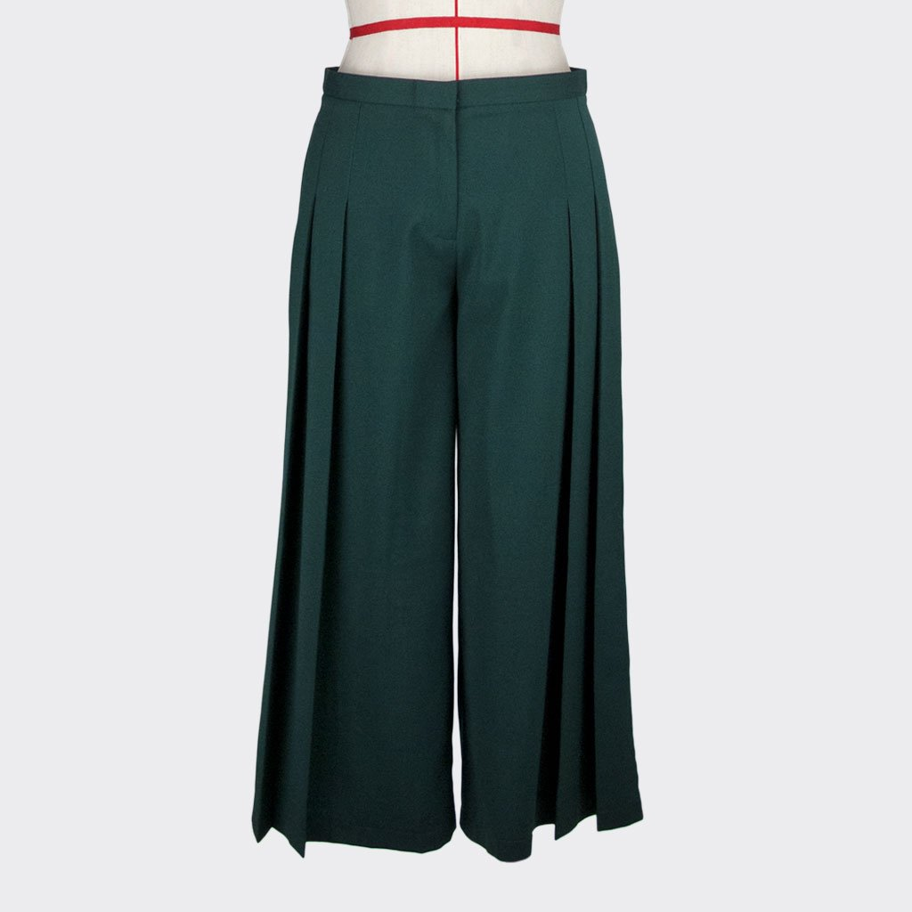 Womb Pleated Pants Polyester Rayon Green S
