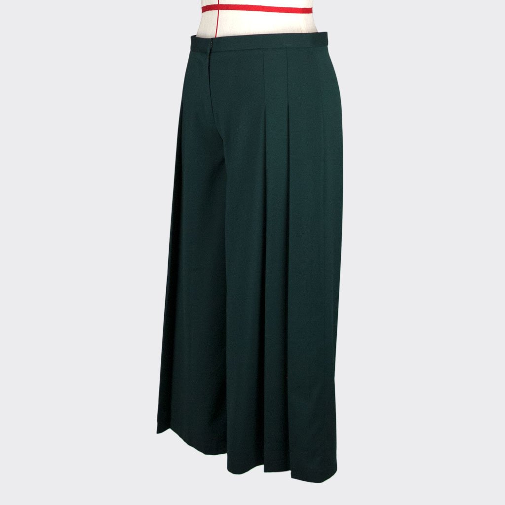 Womb Pleated Pants Polyester Rayon Green M