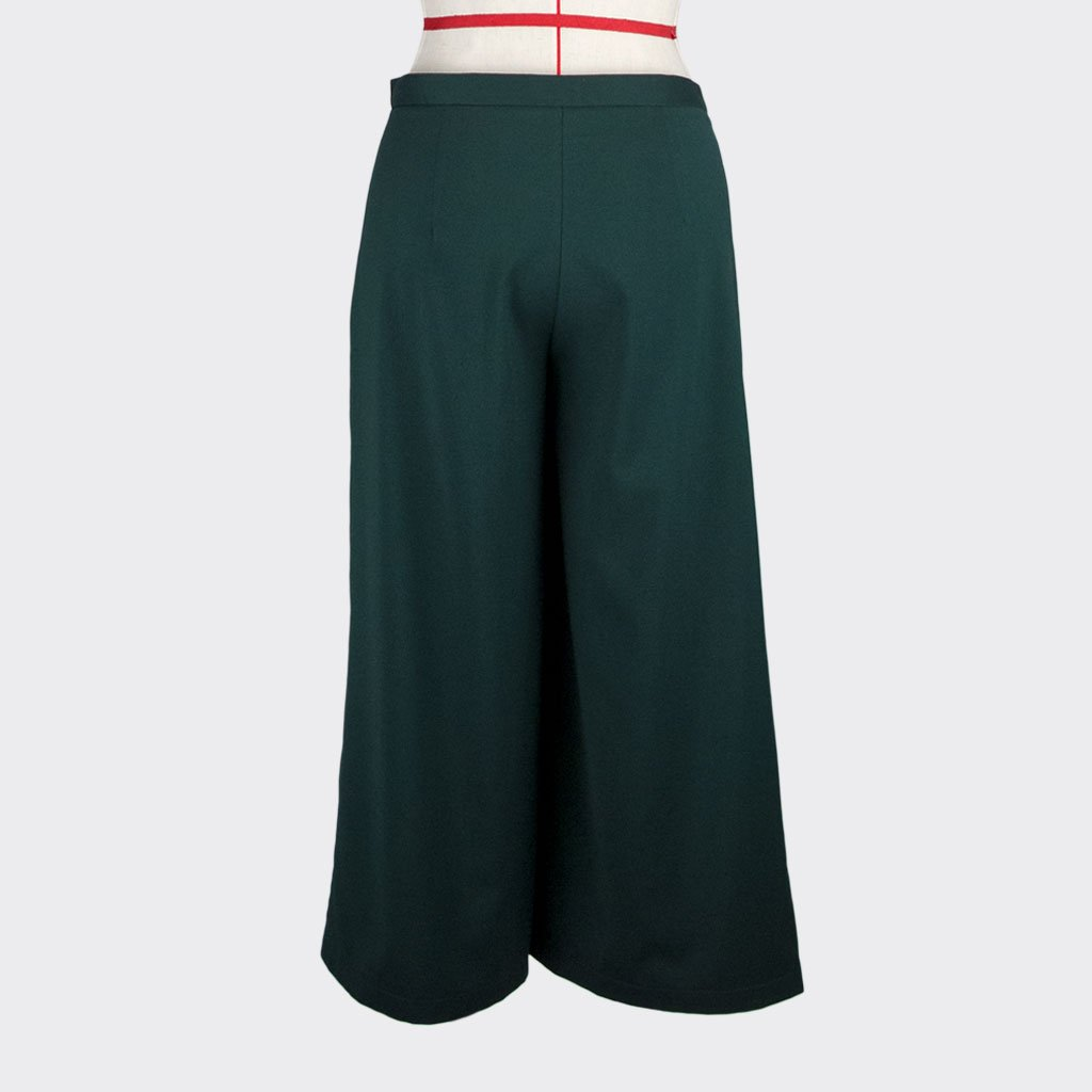 Womb Pleated Pants Polyester Rayon Green L