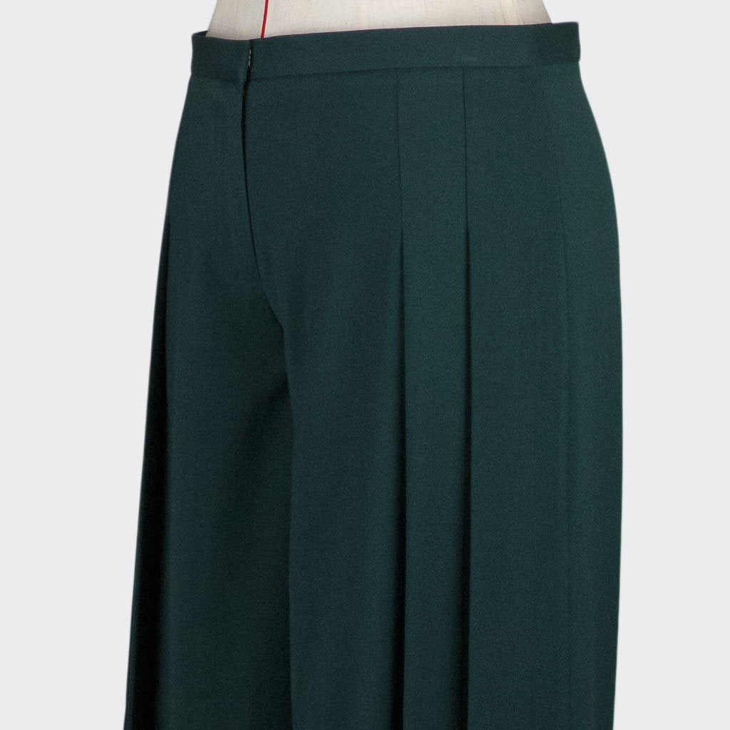 Womb Pleated Pants Polyester Rayon Green XL