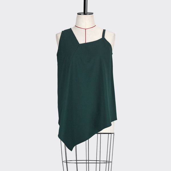 Womb Asymmetric Flare Top Polyester Rayon Green S
