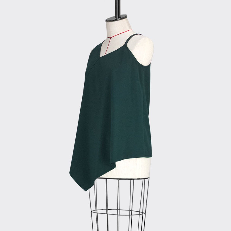 Womb Asymmetric Flare Top Polyester Rayon Green M