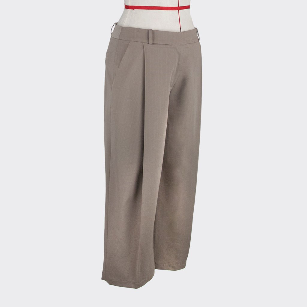 Womb Tapered Pinstripe Pants Cotton Polyester Khaki M