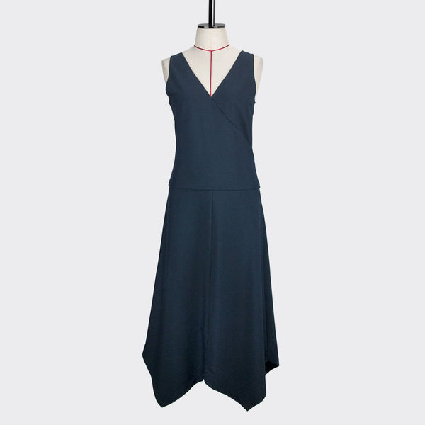 Womb Angular Flare Dress Polyester Blue S