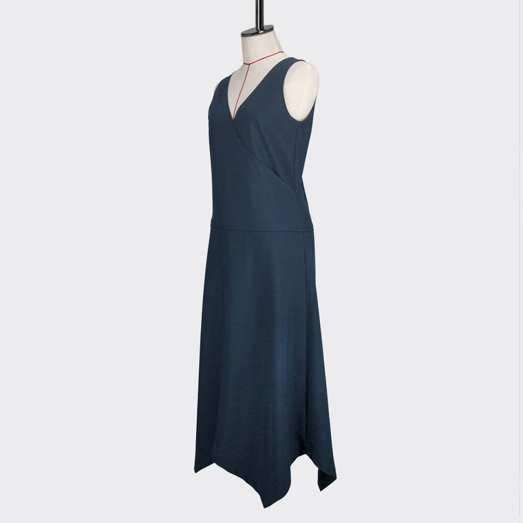 Womb Angular Flare Dress Polyester Blue XL