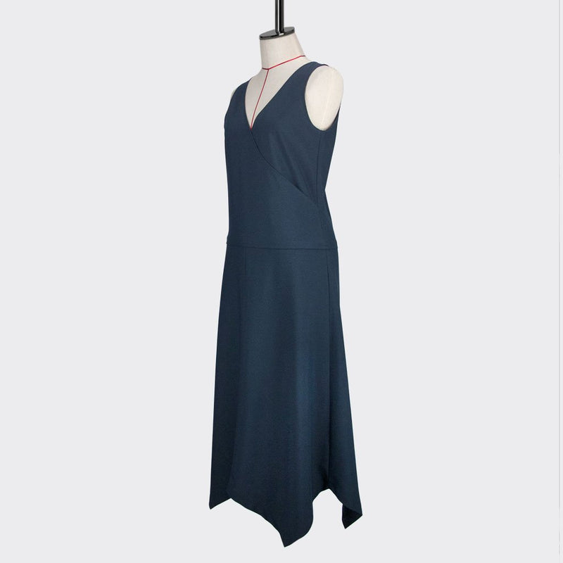 Womb Angular Flare Dress Polyester Blue M