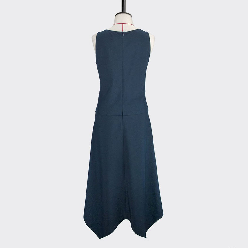 Womb Angular Flare Dress Polyester Blue L