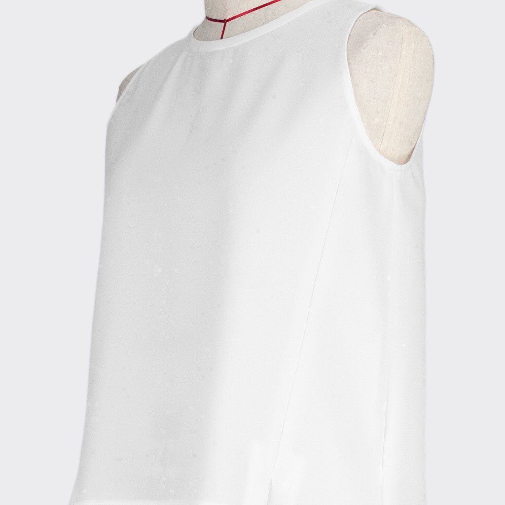 Womb Angular Panel Blouse Polyester White XL