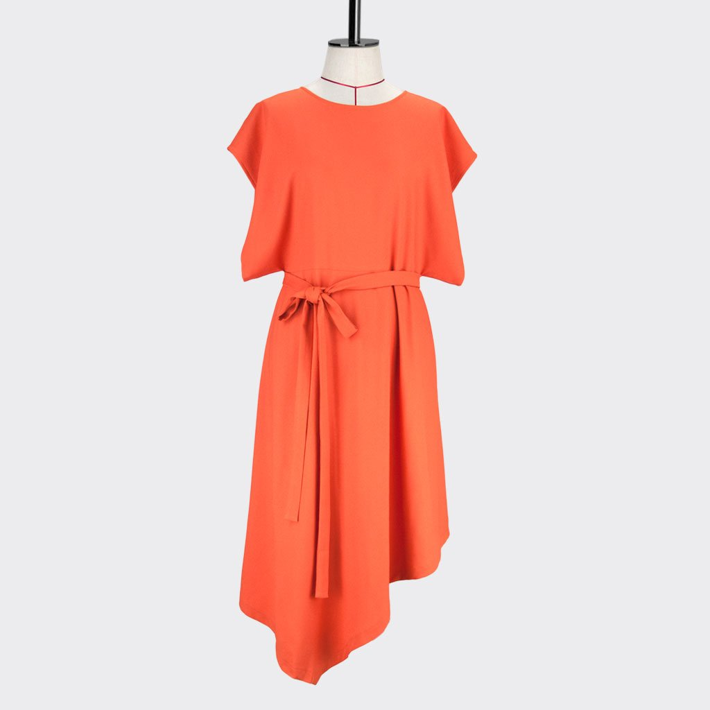 Womb Rectangle Angular Dress Polyester Orange S