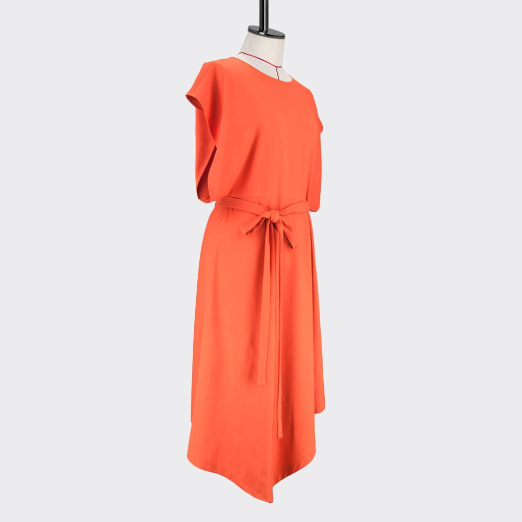 Womb Rectangle Angular Dress Polyester Orange M