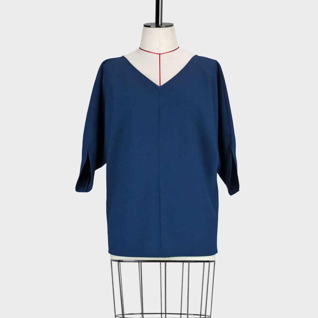 Womb Batwinged Sleeve Blouse Polyester Blue S