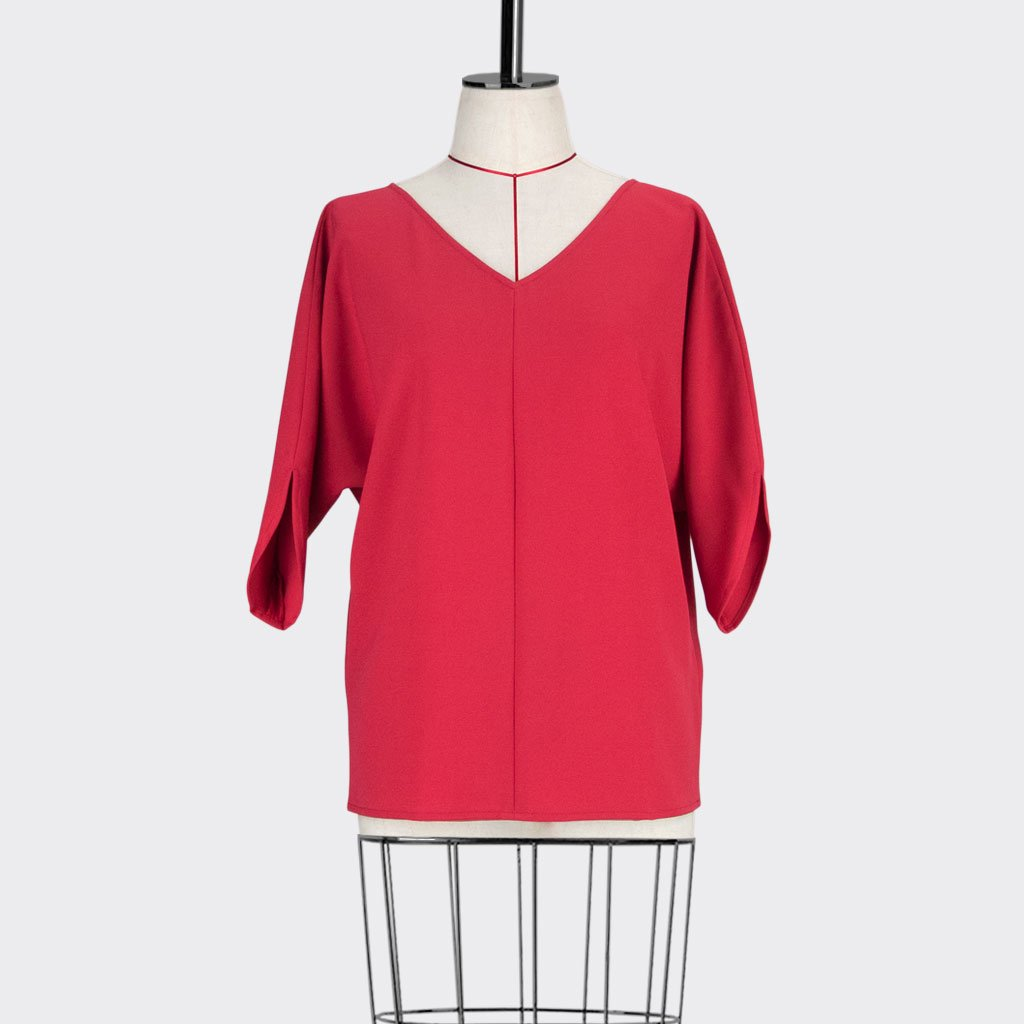 Womb Batwinged Sleeve Blouse Polyester Red S