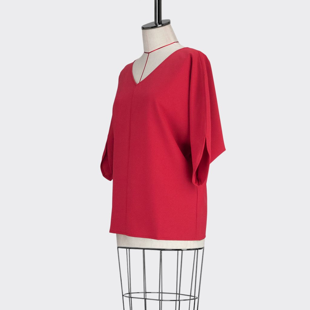 Womb Batwinged Sleeve Blouse Polyester Red M