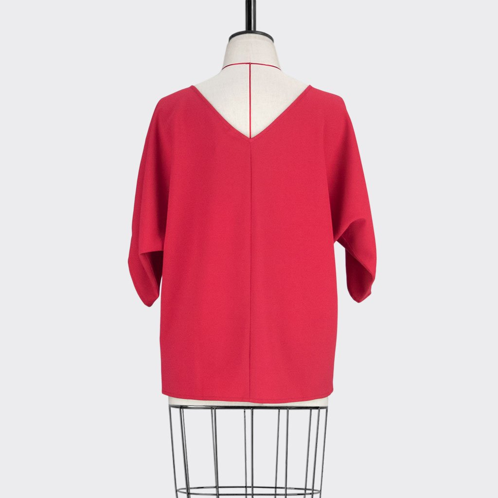 Womb Batwinged Sleeve Blouse Polyester Red L