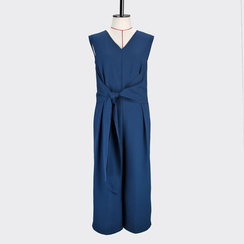 Womb Knotted Jumpsuits  Polyester Blue S