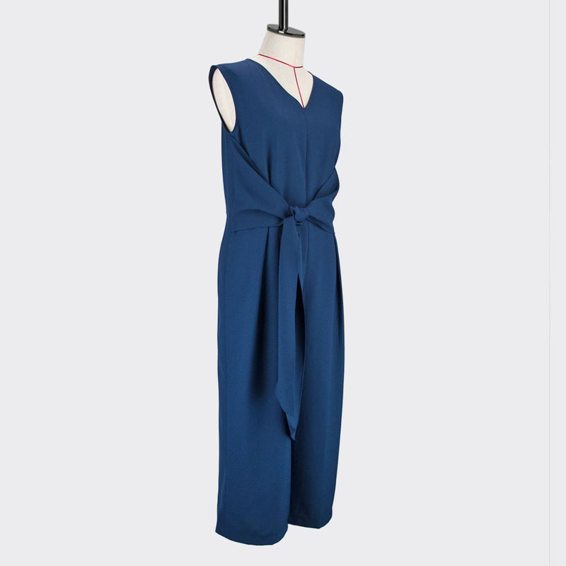 Womb Knotted Jumpsuits  Polyester Blue M
