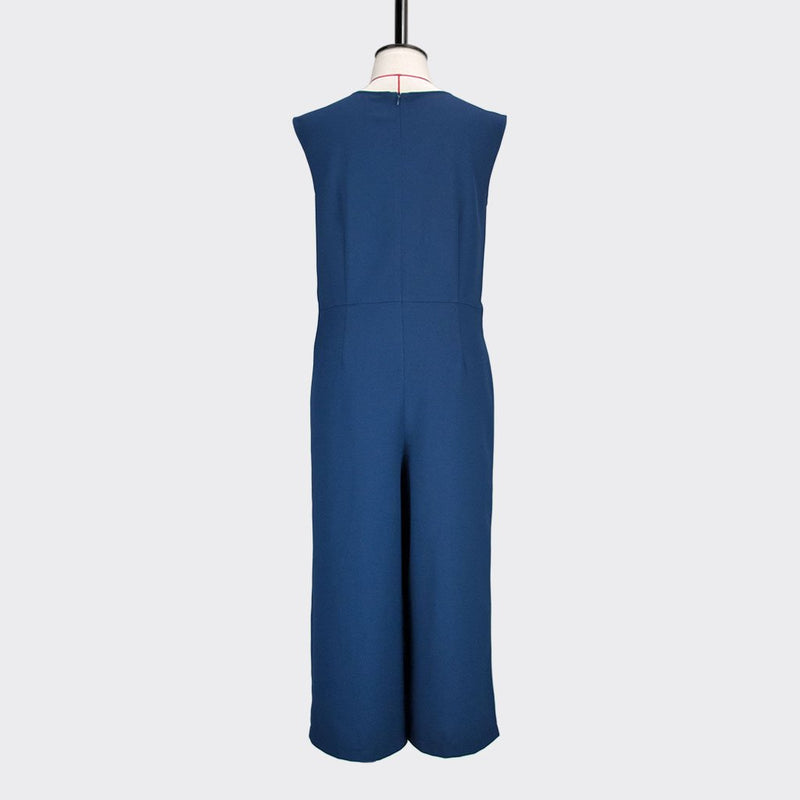 Womb Knotted Jumpsuits  Polyester Blue L