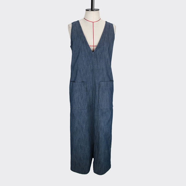 Womb Denim Pocket Dress Cotton Denim Blue S