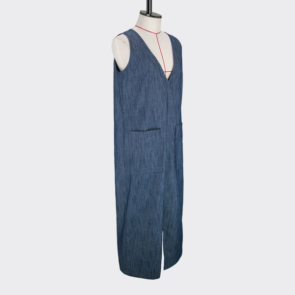 Womb Denim Pocket Dress Cotton Denim Blue M